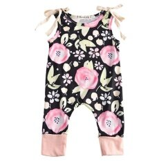โปรโมชั่น Fashion Newborn Baby G*rl Clothes Summer Sleeveless Floral Romper Playsuit Outfit Toddler Kids Clothing Black Intl Unbranded Generic