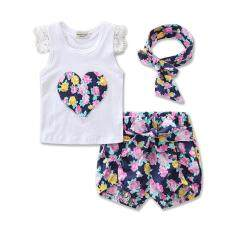 ทบทวน ที่สุด Fashion Sleeveless Summer Style Girls Lace Shirt Kids Floral Print Shorts Headband 3Pcs Suit Children Rose Baby G*rl Clothes Intl
