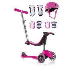 ขาย Globber Scooter รถสกู๊ตเตอร์ ขาไถ รุ่น My Free Seat 4 In 1 Deep Pink Globber Helmet Junior Neon Pink Globber Protective Junior Set Deep Pink ถูก