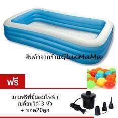 ซื้อ Gluemama สระน้ำขนาด 3เมตร แถมฟรีที่ปั้มลมไฟฟ้าและบอล20ลูก ใหม่