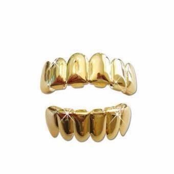 GoSport ใหม่ที่กำหนดเอง 14 พันชุบทองฮิปฮอปครอบตะแกรงฟัน TOP & เลี่ยมทองด้านล่าง Fang ชุด-