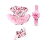 ขาย Gracefulvara 3 Pcs Newborn Baby Girls Rose Flower Rompers Headband 1 Pair Of Shoes Pink Intl ถูก