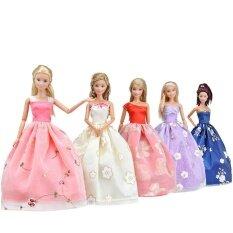 ตุ๊กตาเสื้อผ้าทำด้วยมือ 5 ชิ้นพิมพ์กระโปรงสวิงชุดเจ้าหญิง - Intl.