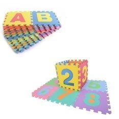 Hellomom แผ่นรองคลานแบบจิ๊กซอร์ ลาย Abc และ 0-9 (1 Set มี 36 แผ่น) Eva.