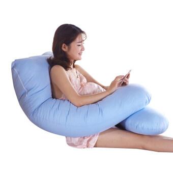 หมอนคนท้อง U-shaped - ผ้าฝ้าย - 143cm – สีน้ำเงิน
