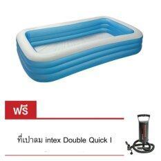 ขาย Intex Jumbo Family Pool 305 รุ่น 58484 White Blue แถมฟรี ที่เป่าลมIntex Double Quick L Intex ออนไลน์