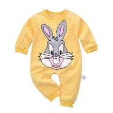 Ishowmall เด็กชิ้นกระต่ายพิมพ์ฤดูใบไม้ร่วงบอดี้สูทฝ้ายแขนยาว Jumpsuit Romper - นานาชาติ.