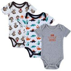 ซื้อ Jiayiqi 3 Piece 12 Months Baby Bodysuits Cute Animal Jumpersnrompers Intl ใน จีน