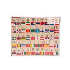 Jkp Toys ของเล่นเสริมพัฒนาการ ของเล่น ของเล่นไม้ชุดโดมิโนธงประจำชาติ 100 ประเทศ.