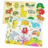 Jkp Toys ของเล่นไม้เสริมพัฒนาการ เซตจิ๊กซอว์หมุดไม้สัตว์ X 2 เเผ่น รวมสัตว์ 16 ชนิด เป็นต้นฉบับ