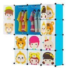 Kakuki ตู้เสื้อผ้าเด็ก Diy 12 ช่อง Hot Item Fashion Folding Clohts รุ่น-K103 (สีฟ้า).