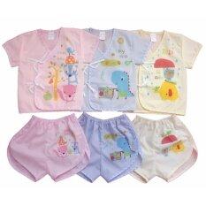 ซื้อ Kamphu ชุดเสื้อเด็กอ่อนแรกเกิด เด็กเล็ก เสื้อผ้าป่าน แบบผูกหน้า แพ็ค 3 ชุด Aaa