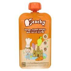 ซื้อ ขายยกลัง Peachy อาหารเสริมสำหรับทารกและเด็กเล็ก มะม่วงน้ำดอกไม้ผสมมันเทศและแครอทบด 110 กรัม ทั้งหมด 7 ถุง ใหม่