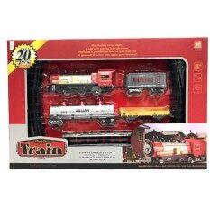 Kid Toys ของเล่นเด็ก ชุด รถไฟราง บรรทุกน้ำมัน และ คอนเทรนเนอร์ (เส้นผ่าศูนย์กลางวงรี 145 Cm.)  .
