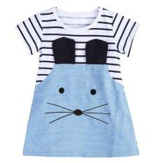ซื้อ Kids Girls Long Sleeve Striped Denim T Shirt Casual Dress Intl ออนไลน์ ถูก