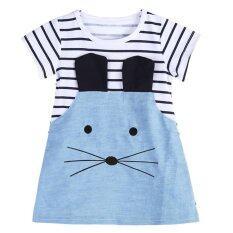 ราคา Kids Girls Long Sleeve Striped Denim T Shirt Casual Dress Intl เป็นต้นฉบับ Domybestshop