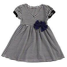 ราคา ราคาถูกที่สุด Kids Girls Summer Striped Bow Dress Sleeveless Princess Party Dress 90Cm Intl