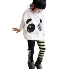 เด็กหญิงตัวเล็กๆการ์ตูนหมีแพนด้าเสื้อเสื้อ + กางเกงลาย (สีเหลือง) (140) - นานาชาติ.