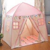 ความคิดเห็น Kids Playhouse Cotton Canvas Toddler Play Tent 2 Doors Teepee Tent Pink