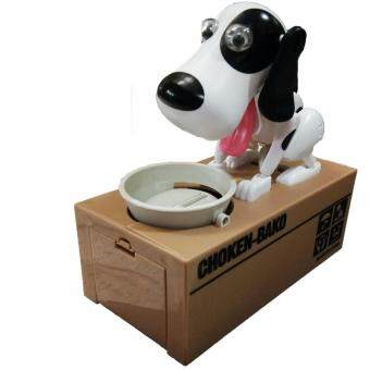 KUKTOY กระปุกออมสินกินเหรียญ รุ่น น้องหมาจอมตะกละ Choken Bako 8801-1 สีขาวหูดำ
