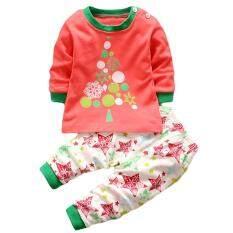 ซื้อ Lalang Baby Boy G*rl 2Pcs Clothing Set Cartoon Christmas Tree Long Sleeve Top Pants Pajamas Underwear Suit Multicolor Intl Lalang เป็นต้นฉบับ
