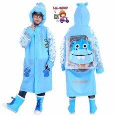 L&l Shop เสื้อกันฝนเด็ก ลายฮิปโปสีฟ้า.