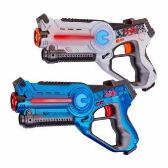 ปืนเลเซอร์อินฟราเรดสำหรับเล่นเกมปืนเลเซอร์ LaserGame Gun 2 ชิ้น (สีน้ำเงิน 1 ชิ้นและสีขาว 1 ชิ้น) Nerf