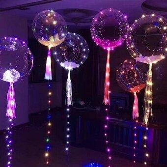 leegoal 18 Inch LED Light Balloon บอลลูน Bling Bling บอลลูนแสงสีสัน ไฟ LED Light Ball คลื่นบอลตลาดกลางคืนช้อปปิ้งมอลล์สแควร์ Street ขายวันเกิดบอลลูนตกแต่งงานแต่งงานเค้าโครง - intl