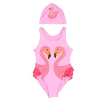 Lovely Girls Kids Printing One-piece Swimsuit Bathing Beach Swimwear with Hat(Pink S) - intl