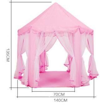 MagiDeal เจ้าหญิงเต็นท์ทรงปราสาทเด็ก Fairy บ้านเด็กเล่นในร่มสวนกลางแจ้งสีชมพู - INTL-