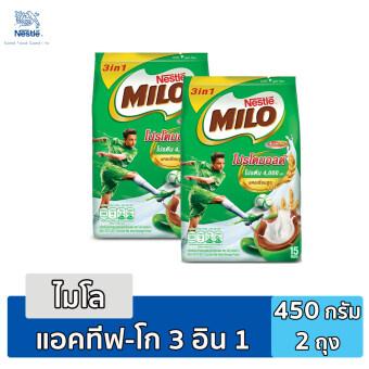 Milo 3in1 Activ-Go เครื่องดื่มช็อกโกแลตมอลต์ปรุงสำเร็จ ขนาด 450 กรัม (2 แพ็ค)