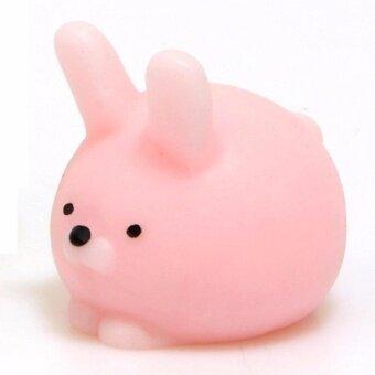 Moni Moni Animal โมนิส่งฟรี EMS กระต่ายบันนี่ตัวอ้วนกลมน่ารักนุ่มนิ่ม ใช้ติดหรือห้อยโทรศัพท์มือถือ และสามารถใช้บีบเล่นเพื่อผ่อนคลาย (สีชมพู)