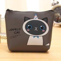 Moonar การ์ตูนแมวน่ารักกระเป๋าเงินขนาดเล็กเหรียญกระเป๋าหนัง Pu ผู้หญิงกระเป๋าคลัตช์ Key กระเป๋าเก็บบัตร (แมวสีเทา, 1 ) - Intl.