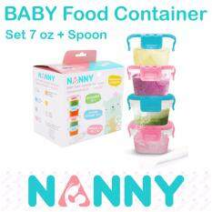 Nanny ชุดเก็บอาหารฝาล็อคพร้อมช้อน (7oz) Baby Food Container Set+spoon.