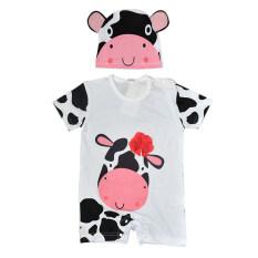 ราคา New Fashion Short Sleeve Cartoon Pattern Baby Jumpers With Hat Cow White Unbranded Generic เป็นต้นฉบับ