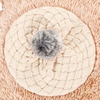 เด็กใหม่เด็กหมวกเด็กหมวกไหมพรมถักด้วยมืออุ่นหมวกน่ารัก (สีเบจ)