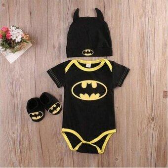 Newborn Baby Boy Batman Short Sleeve Romper Bodysuit+Shoes+Hat Clothes 3Pcs Outfits Set 0-24M - intl