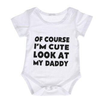 Newborn Baby Boy Girl Casual Romper Jumpsuit Letters Print Outfits(70cm) - intl
