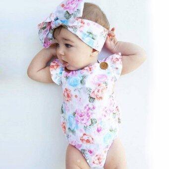 ชุดสำหรับทารกแรกเกิด ลายดอกไม้น่ารัก จัมพ์สูทหนึ่งชิ้น พร้อมที่คาดศีรษะ - สีชมพู