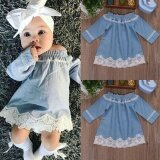 ขาย ซื้อ Newborn Baby Girls Denim Off Shoulder Lace Dress Party Dresses Casual Clothes Intl จีน