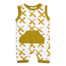 ซื้อ Newborn Infant Baby Boy Xx Printed Sleeveless Romper Jumpsuit Outfits Intl ถูก
