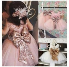 ทบทวน ที่สุด Newest Baby Girls Sweet Sequins Mini Dress Dance Dress Princess Dress Party Ball Gown White Size 80Cm Intl