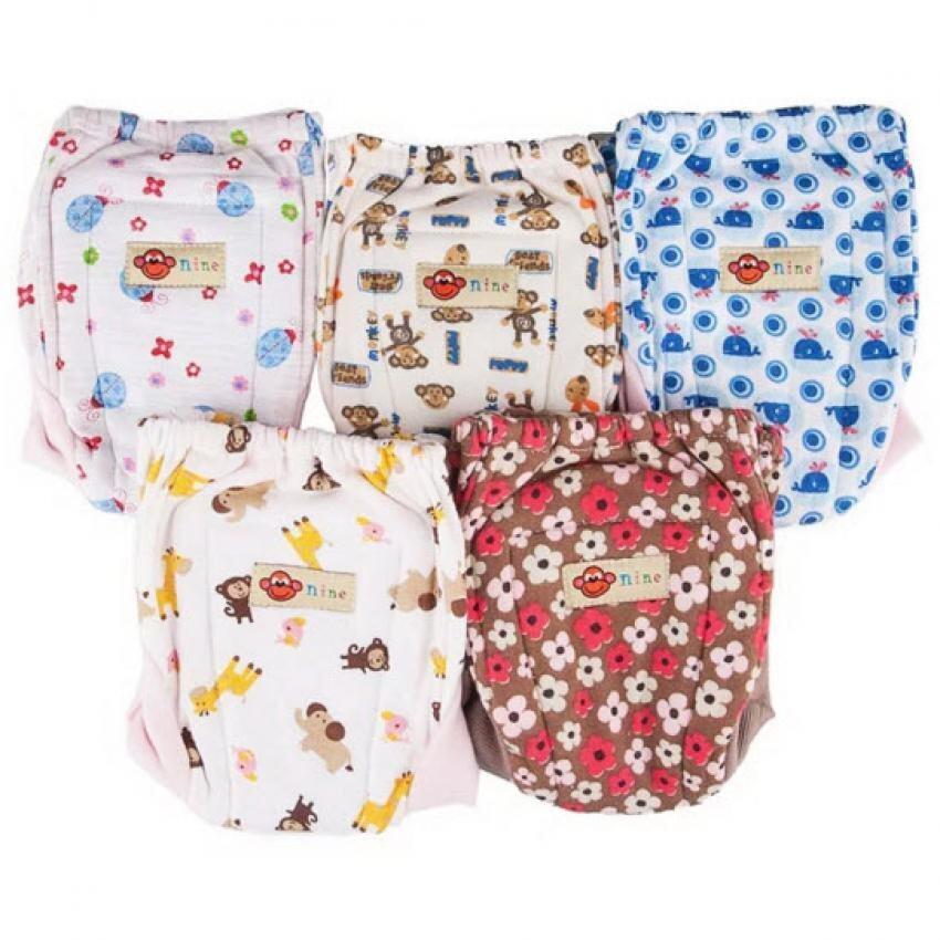 ราคา Nine กางเกงผ้าอ้อมซักได้ ขาผ้ายืด รุ่น N3-5A (แบบ A) Pack 5