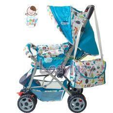 ราคา Ladylazy รถเข็นเด็ก No 01 ปรับได้ 3 ระดับ เข็นหน้า หลัง ลายสัตว์น้อย สีฟ้า Ladylazy