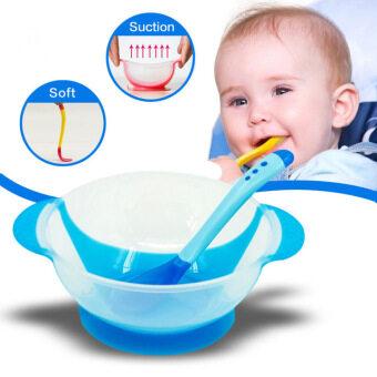 OEM ชุดถ้วยอาหารเด็กพร้อมช้อนส้อมวัดอุณหภูมิ (สีฟ้า)