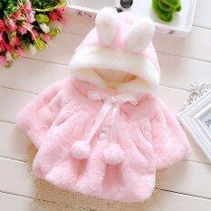 โปรโมชั่น Oh Baby Infant Girls ขนสัตว์หนา Warm Coat กับหมวก 70Cm ใน จีน