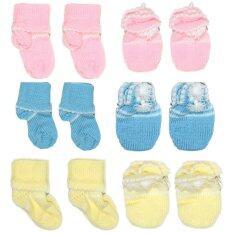 P Kเซ็ทไหมพรม ถุงมือ ถุงเท้า 3สี สำหรับเด็กแรกเกิด 3เดือน เป็นต้นฉบับ