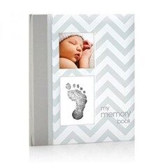 Pearhead Chevron Baby Book With Clean-Touch Ink Pad Included, Gray - Intl.
