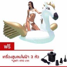 ขาย ห่วงยาง Pegasus Big Size Free ที่สูบลมไฟฟ้า ขนาด 275 Cm White Gold ใหม่