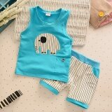 Popular 2Pcs Kids Clothes Baby Boy Summer Clothes Set Tank Top Striped Shorts Childrens Toddler Boy Clothing Set Baby Clothes For Boys Blue Intl ใน จีน